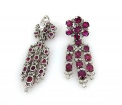 VINTAGE PLATINUM DIAMOND RUBY DAY NIGHT EARRINGS - 1087945