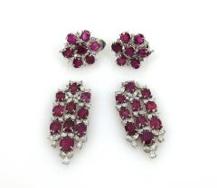 VINTAGE PLATINUM DIAMOND RUBY DAY NIGHT EARRINGS - 1087946