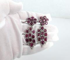 VINTAGE PLATINUM DIAMOND RUBY DAY NIGHT EARRINGS - 1087954