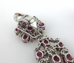VINTAGE PLATINUM DIAMOND RUBY DAY NIGHT EARRINGS - 1087957