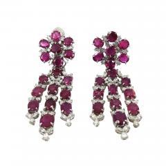 VINTAGE PLATINUM DIAMOND RUBY DAY NIGHT EARRINGS - 1090924