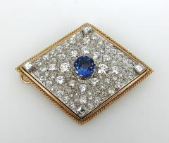 VINTAGE TANZINITE DIAMOND PIN OR PENDANT ROSE AND WHITE GOLD - 1089765