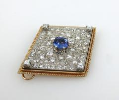 VINTAGE TANZINITE DIAMOND PIN OR PENDANT ROSE AND WHITE GOLD - 1089766