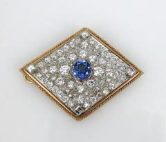 VINTAGE TANZINITE DIAMOND PIN OR PENDANT ROSE AND WHITE GOLD - 1089767