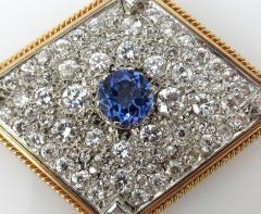 VINTAGE TANZINITE DIAMOND PIN OR PENDANT ROSE AND WHITE GOLD - 1089768