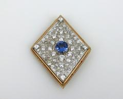 VINTAGE TANZINITE DIAMOND PIN OR PENDANT ROSE AND WHITE GOLD - 1089770