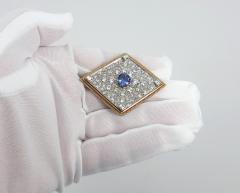 VINTAGE TANZINITE DIAMOND PIN OR PENDANT ROSE AND WHITE GOLD - 1089771
