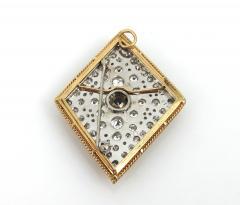 VINTAGE TANZINITE DIAMOND PIN OR PENDANT ROSE AND WHITE GOLD - 1089882