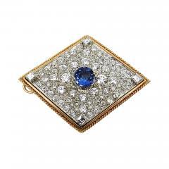 VINTAGE TANZINITE DIAMOND PIN OR PENDANT ROSE AND WHITE GOLD - 1090930