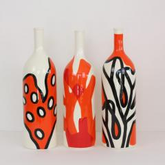 Val rie Le Roux Set of 3 Contemporary Ceramic Bottles with Nautical Motifs Corail - 1669321