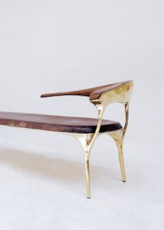 Valentin Loellmann Brass and Walnut Lounge Chair - 1019881