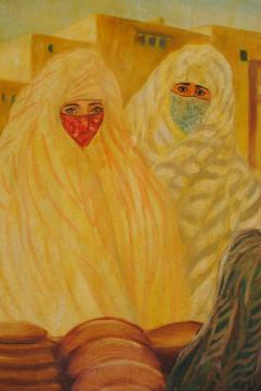 Valery Ivanovich Jacobi Orientalist Painting of Veiled Women - 1070088