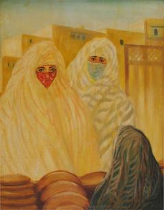 Valery Ivanovich Jacobi Orientalist Painting of Veiled Women - 1071431