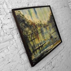 Van Hoople Mid century modern hillside original landscape impasto oil painting - 1938858