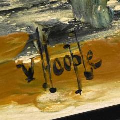 Van Hoople Mid century modern hillside original landscape impasto oil painting - 1938861