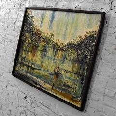 Van Hoople Mid century modern hillside original landscape impasto oil painting - 1938873