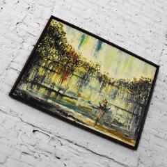 Van Hoople Mid century modern hillside original landscape impasto oil painting - 1938874