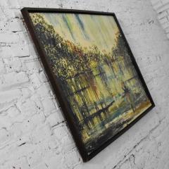 Van Hoople Mid century modern hillside original landscape impasto oil painting - 1938876