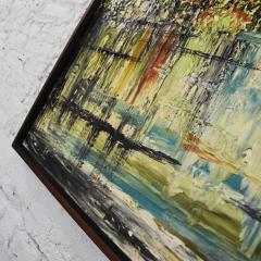 Van Hoople Mid century modern hillside original landscape impasto oil painting - 1938877