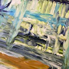 Van Hoople Mid century modern hillside original landscape impasto oil painting - 1938890