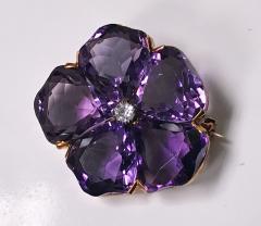 Very Fine Amethyst and Diamond Pansy Brooch 18K C 1900 - 1263619