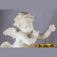 Very Fine Quality French Ormolu and White Marble Winged Cherub Clock - 2034492