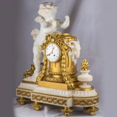 Very Fine Quality French Ormolu and White Marble Winged Cherub Clock - 2034495
