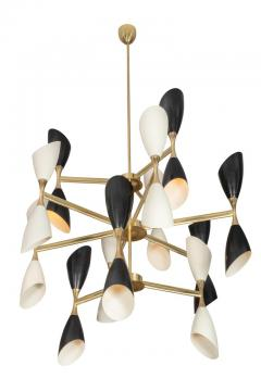 Very Large Rotating Multi Shade Italian Midcentury Style Chandelier - 1016384