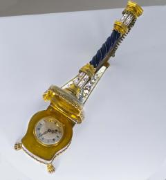Very Rare 1880s The Harp Austrian Viennese and French Enamel Table Form Clock - 1142764