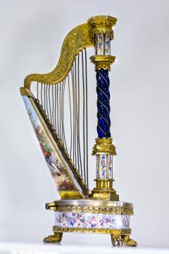 Very Rare 1880s The Harp Austrian Viennese and French Enamel Table Form Clock - 1142770