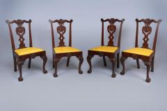 Very Rare Set Of Four Highly Carved Chippendale Mahogany Side Chairs - 1400957