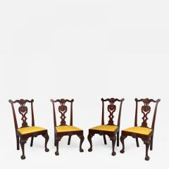 Very Rare Set Of Four Highly Carved Chippendale Mahogany Side Chairs - 1400958