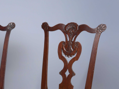 Very Rare Set Of Four Highly Carved Chippendale Mahogany Side Chairs - 1400959