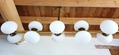 Very long brass white glass Mid Century Modern chandelier Italy 1970s - 1614352