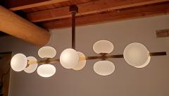 Very long brass white glass Mid Century Modern chandelier Italy 1970s - 1614354