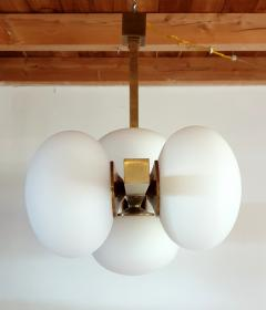 Very long brass white glass Mid Century Modern chandelier Italy 1970s - 1614355