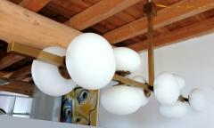 Very long brass white glass Mid Century Modern chandelier Italy 1970s - 1614357