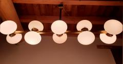 Very long brass white glass Mid Century Modern chandelier Italy 1970s - 1614358