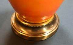 Vibrant Pair of 1960s Iridescent Orange glazed Bottle form Lamps - 1894060