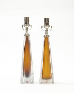 Vicke Lindstrand Pair of 1970s Cognac Colored Glass lamps by Vicke Lindstrand Kosta - 1900505