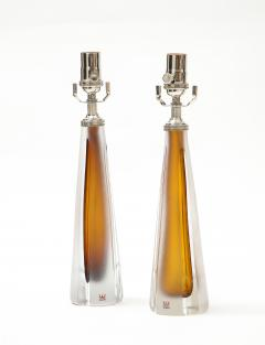 Vicke Lindstrand Pair of 1970s Cognac Colored Glass lamps by Vicke Lindstrand Kosta - 1900506