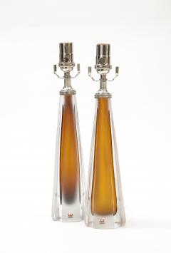 Vicke Lindstrand Pair of 1970s Cognac Colored Glass lamps by Vicke Lindstrand Kosta - 1900507