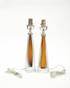 Vicke Lindstrand Pair of 1970s Cognac Colored Glass lamps by Vicke Lindstrand Kosta - 1900512