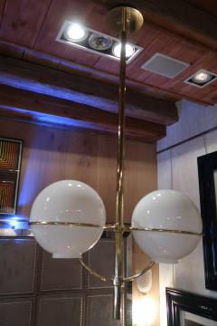 Vico Magistretti A Brass and Opaline Glass Ceiling Lamp by Vico Magistretti Italy 70 - 1084612