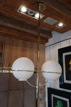 Vico Magistretti A Brass and Opaline Glass Ceiling Lamp by Vico Magistretti Italy 70 - 1084614