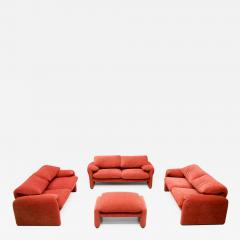 Vico Magistretti Vico Magistretti Living Room Set Maralunga Sofa and Stool Cassina Italy 1973 - 1168327