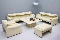 Vico Magistretti Vico Magistretti Maralunga Two Seat Sofa in Cream White Leather Cassina 1973 - 1297829