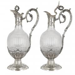 Victor Boivin Pair of Rococo style silver mounted crystal jugs by Boivin - 1569840