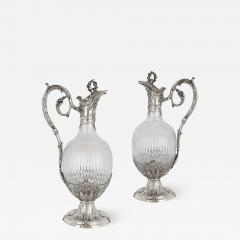 Victor Boivin Pair of Rococo style silver mounted crystal jugs by Boivin - 1572702