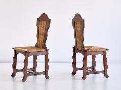 Victor Courtray Set of Six Victor Courtray Attributed Dining Chairs in Oak and Rush 1950s - 2047072